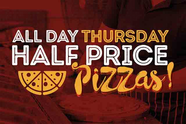 Half Price Pizza! <br> Every Thursday at The Hen