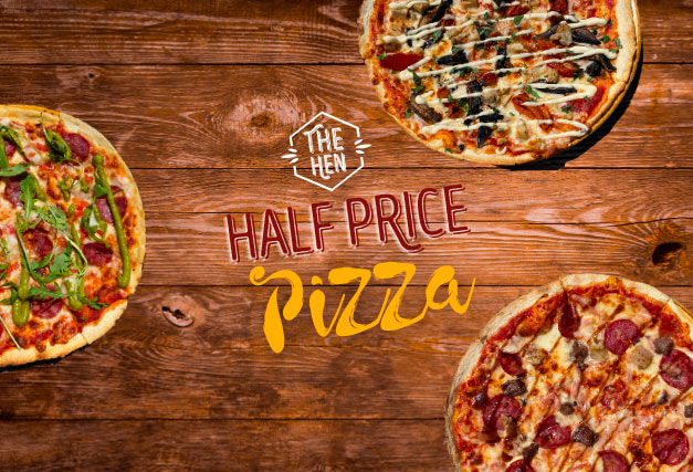 Thursday Special <br> HALF PRICE PIZZA